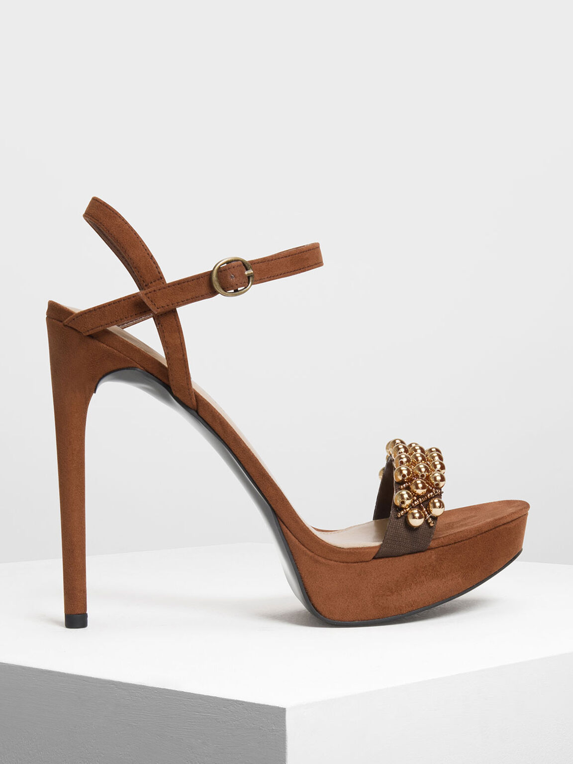 Embellished Platform Stiletto Heels, Brown, hi-res