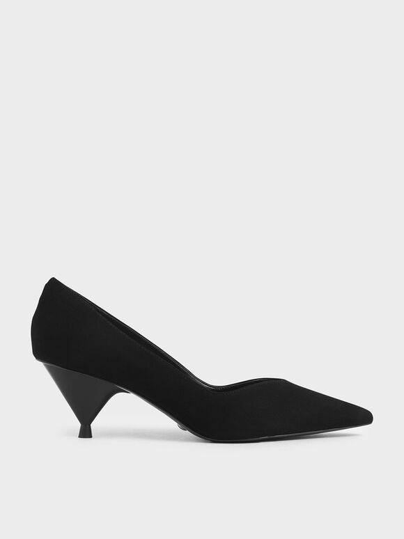 Cone Heel Pumps (Kid Suede), Black, hi-res