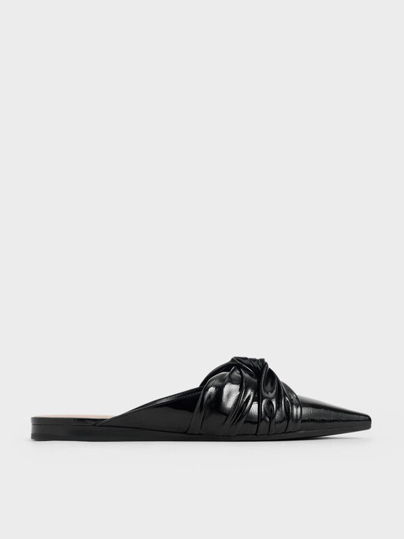 Wrinkled Patent Ruched Knot Mules, Black, hi-res