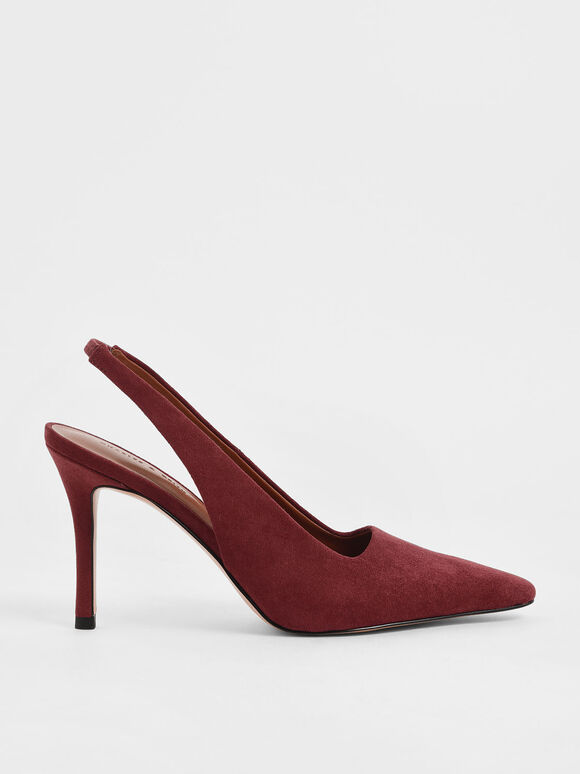 Textured Stiletto Heel Slingback Pumps, Brick, hi-res