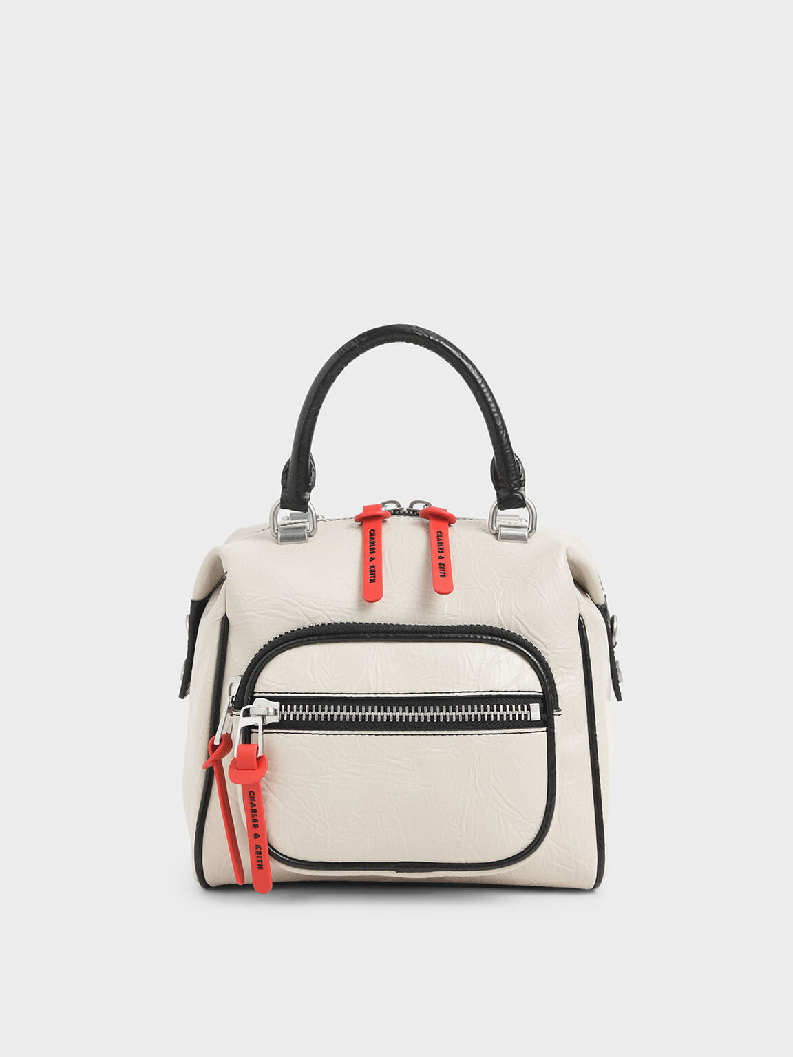 Two-Tone Wrinkled Effect Front Zip Bag, Cream, hi-res