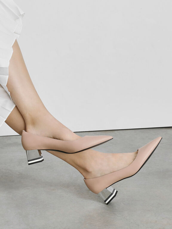 Striped Chrome Heel Pumps, Nude