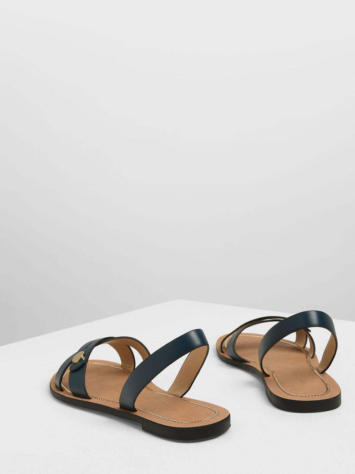 交叉帶平底涼鞋, 藍綠色, hi-res