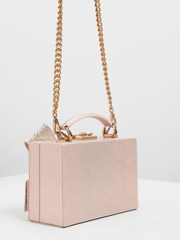 Metallic Ribbon Top Handle Bag, Rose Gold
