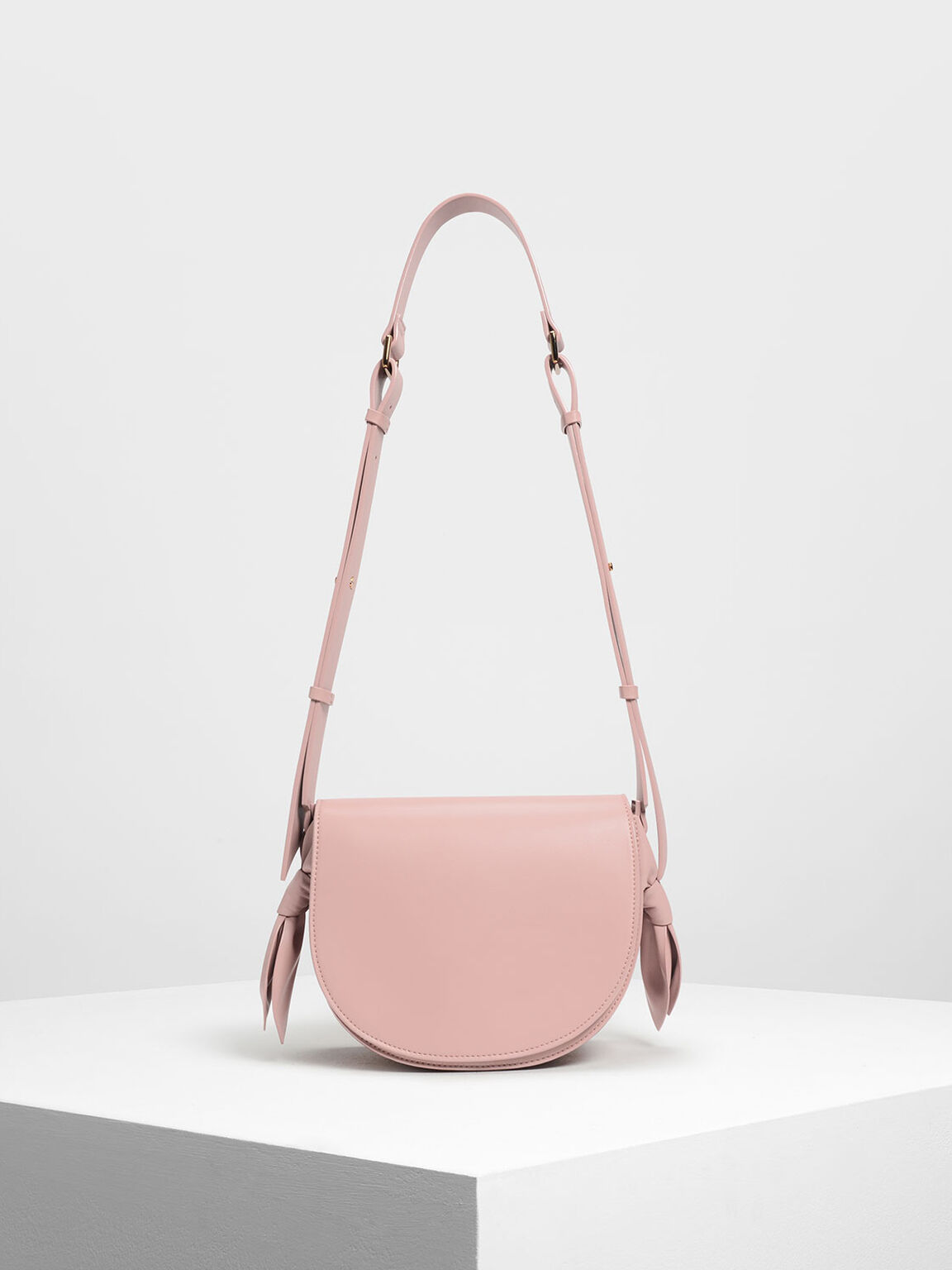 Knot Details Saddle Bag, Blush, hi-res