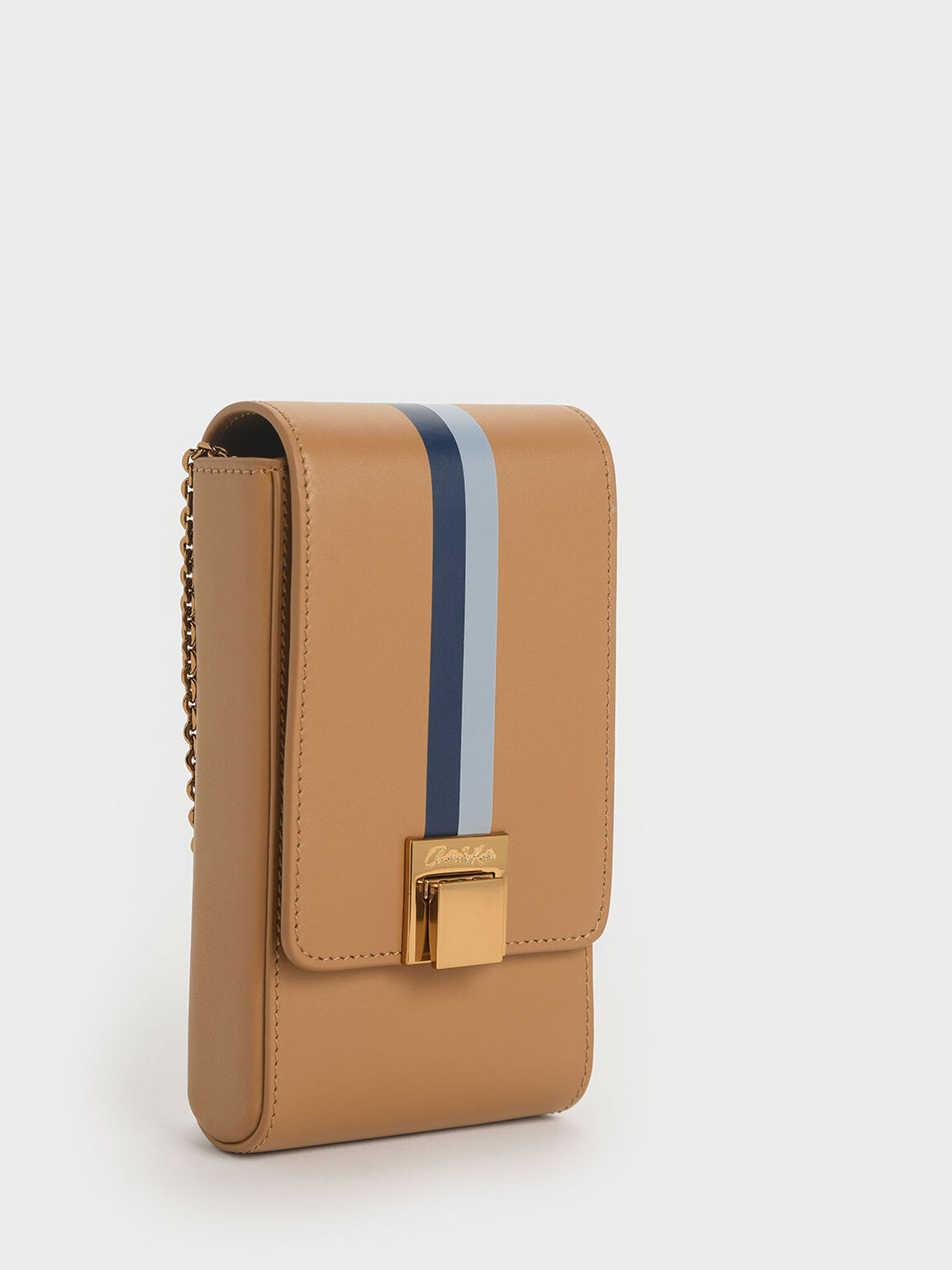 Striped Elongated Leather Crossbody Bag, Caramel, hi-res