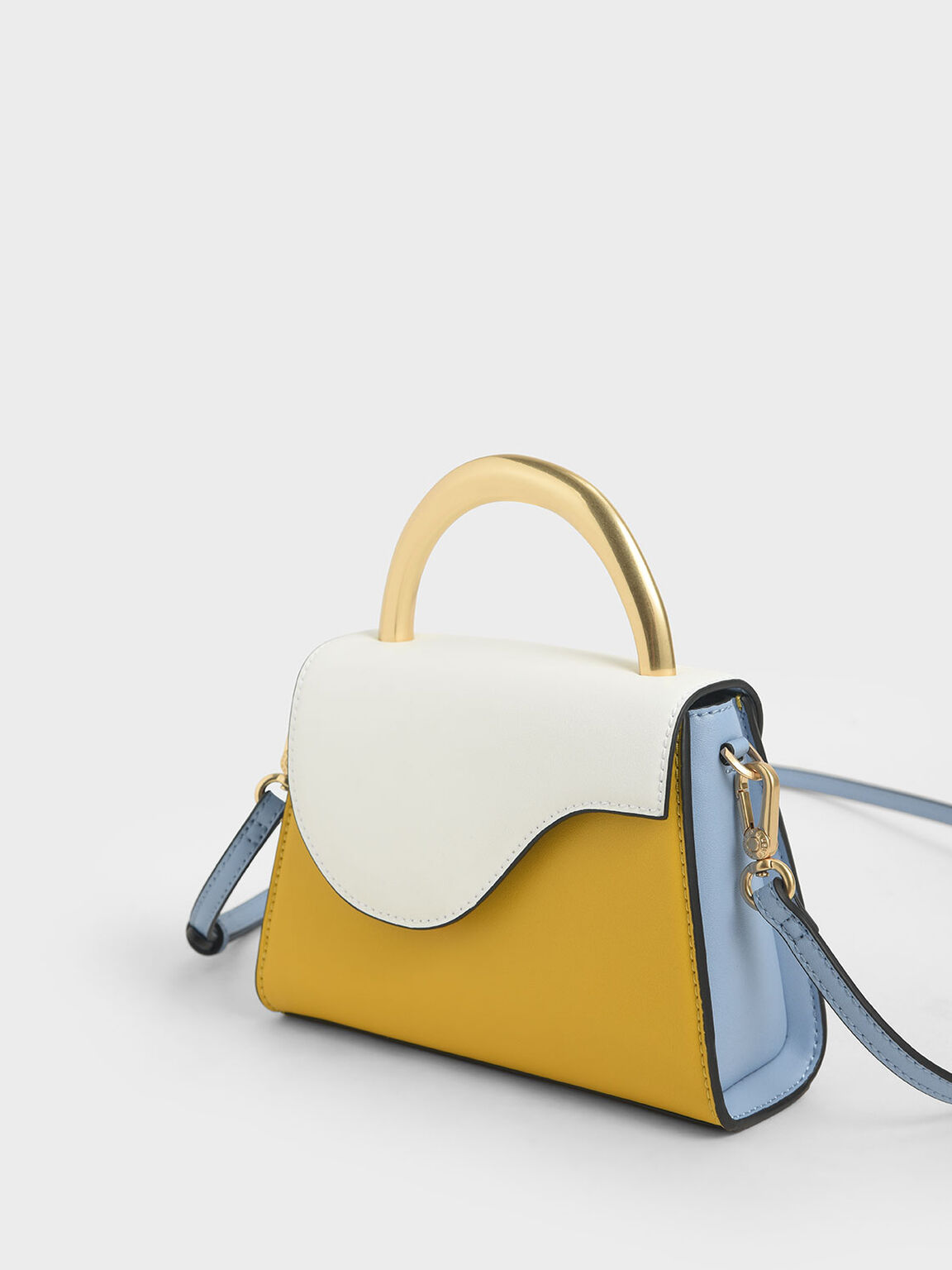 Two-Tone Angular Flap Bag, Multi, hi-res