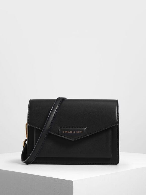 Front Flap Crossbody Bag, Black, hi-res