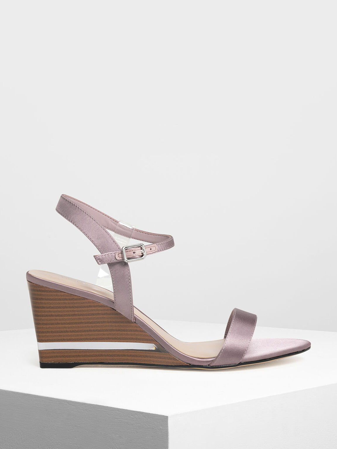 Clear Strap Wooden Wedges, Nude, hi-res