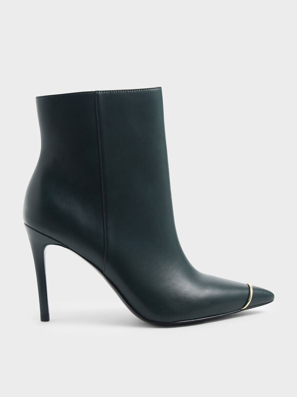 Metallic Accent Pointed Toe Stiletto Heel Boots, Green, hi-res