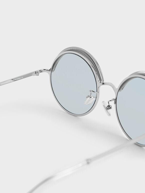 Half Rim Round Sunglasses, Blue, hi-res
