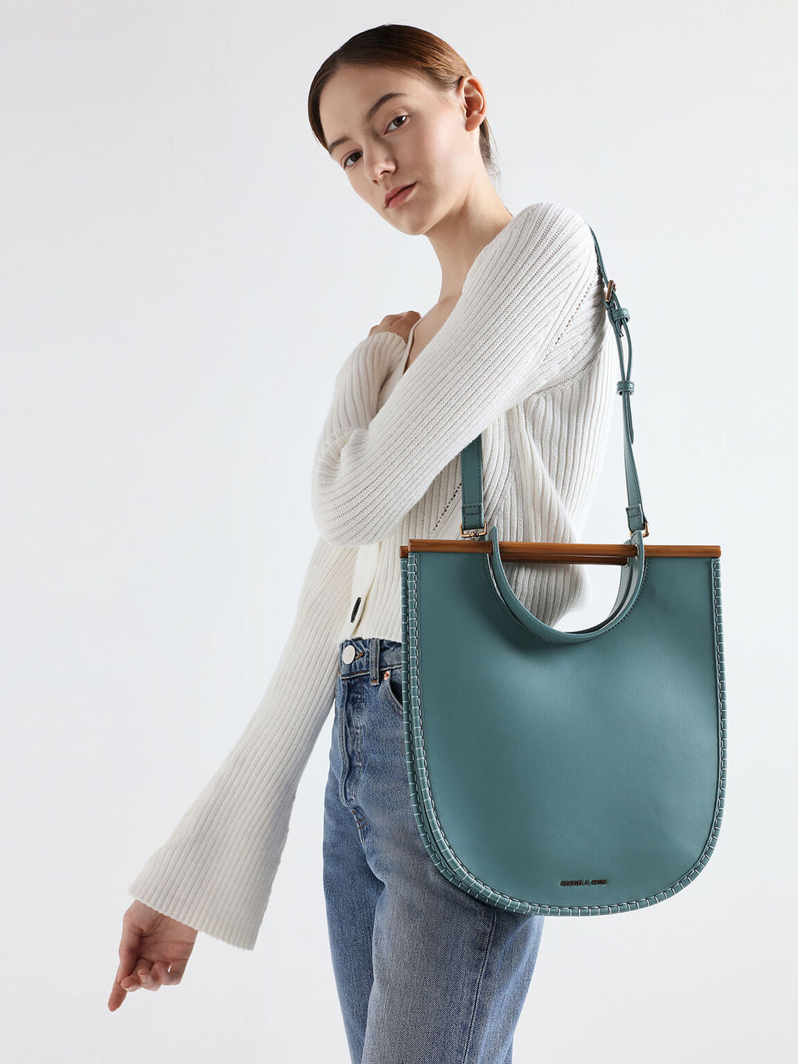U-Shaped Whipstitch Tote, Teal, hi-res