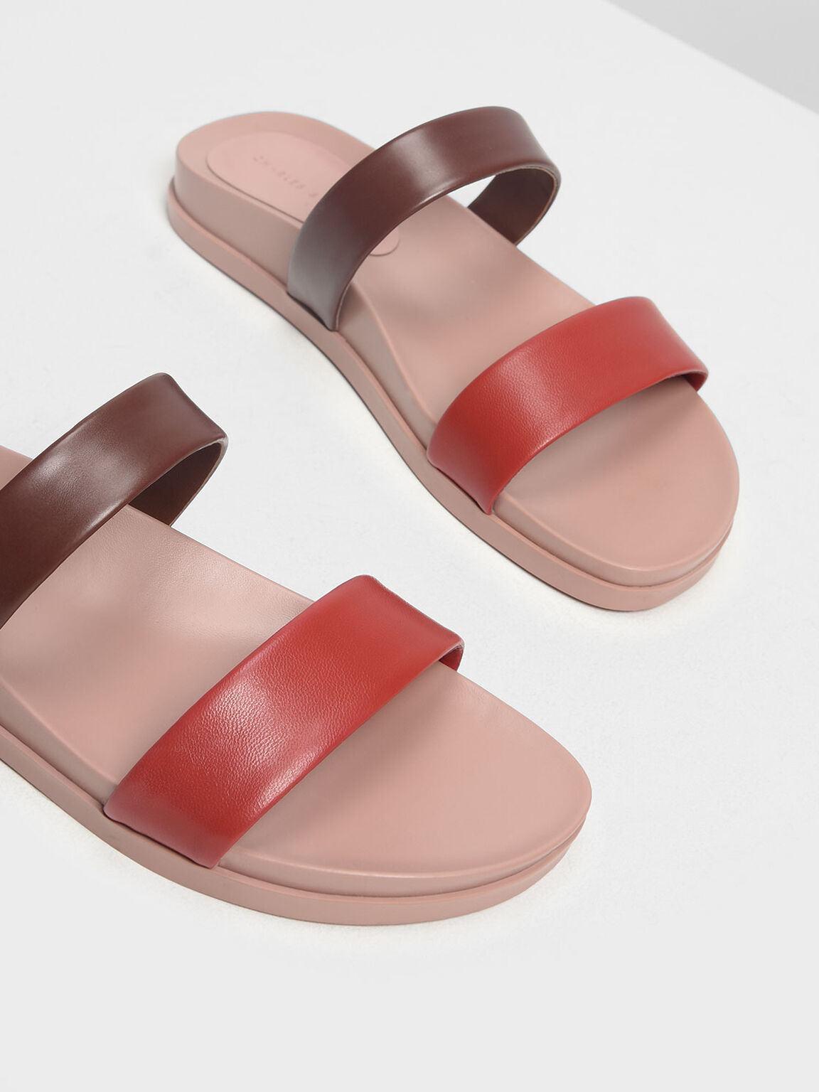 Double Strap Sliders, Pink, hi-res