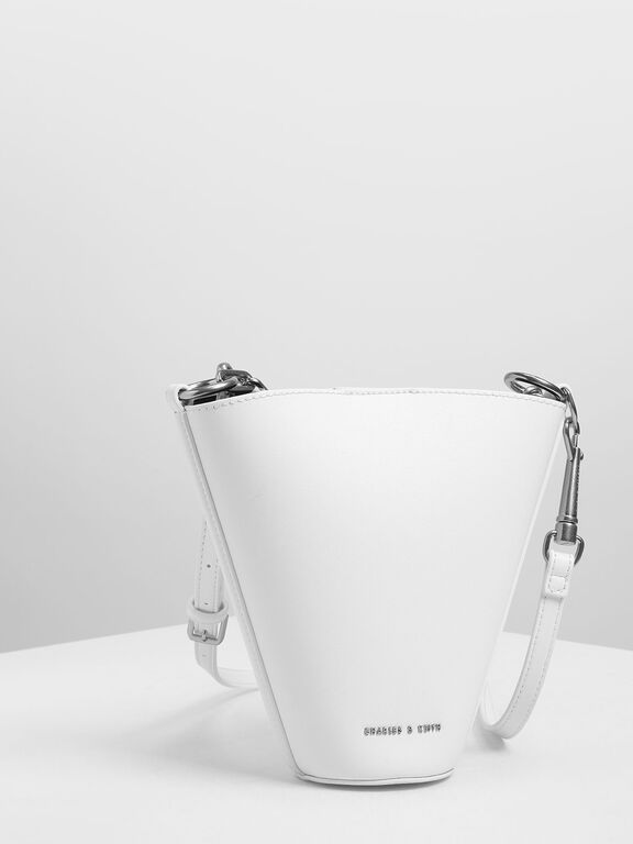 Mini Slanted Bucket Bag, White, hi-res