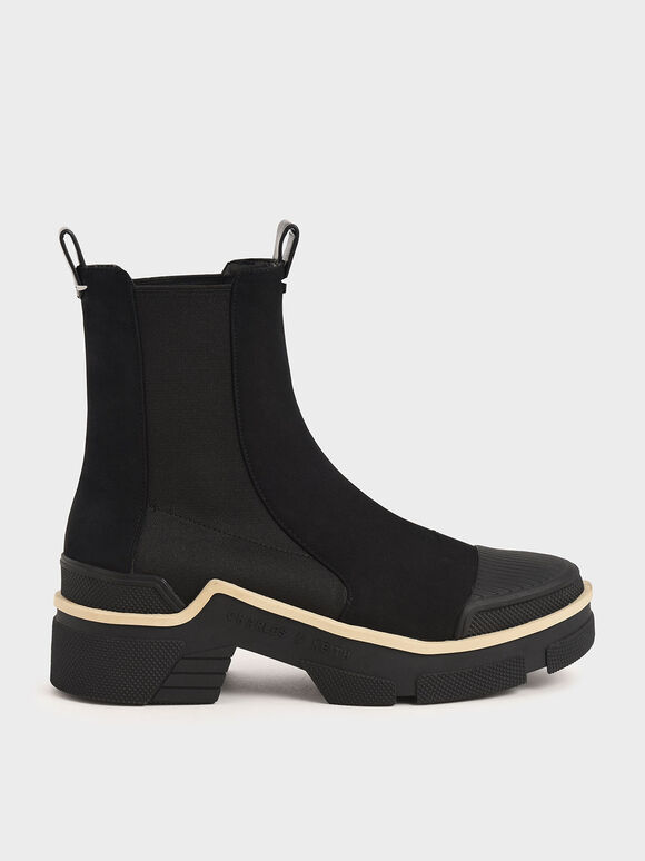 Pull-On Ankle Boots, Black, hi-res