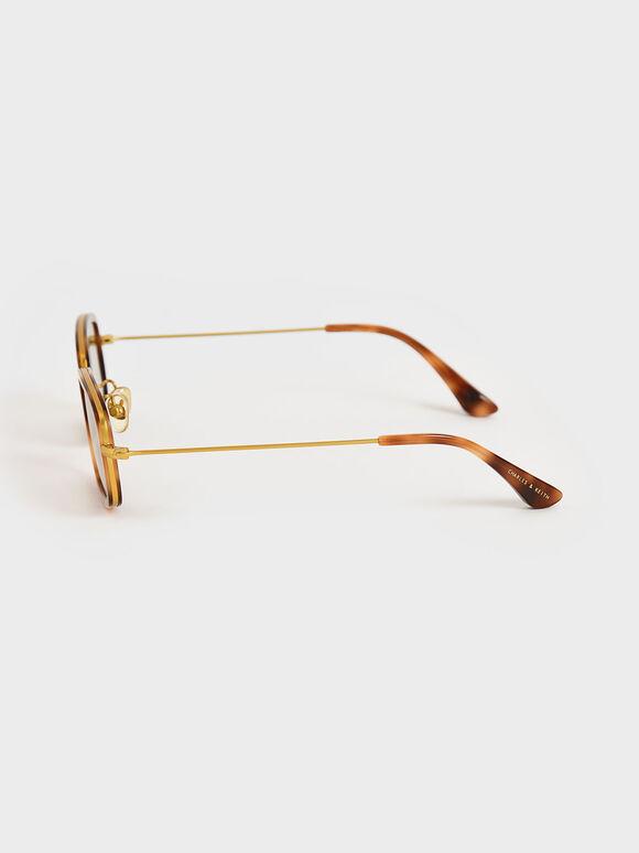 Rectangle Frame Tortoiseshell Acetate Sunglasses, T. Shell, hi-res