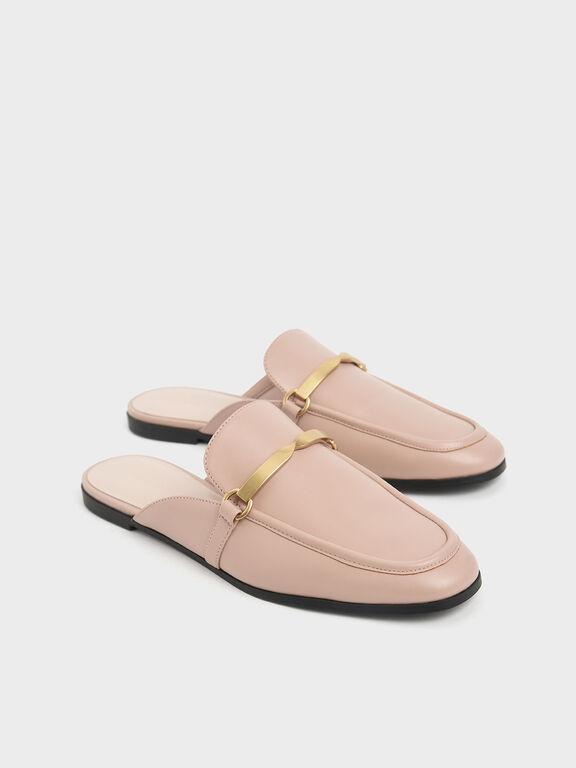 Metal Accent Slip-On Loafers, Nude