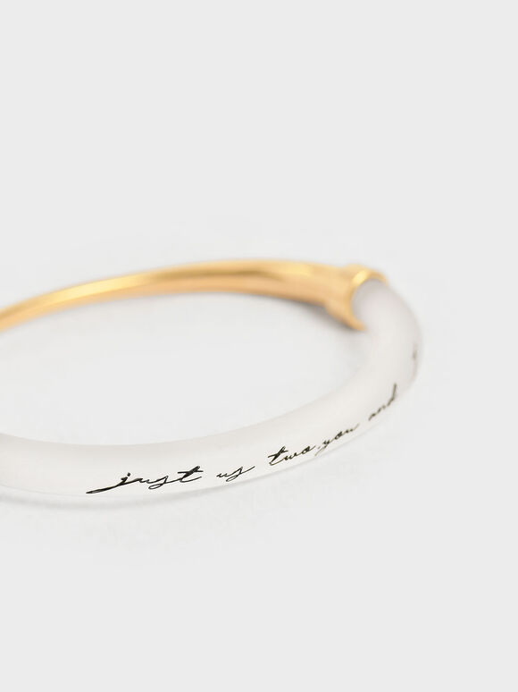 """""""Just Us Two, You And I"""" Printed Bracelet, Gold, hi-res"""