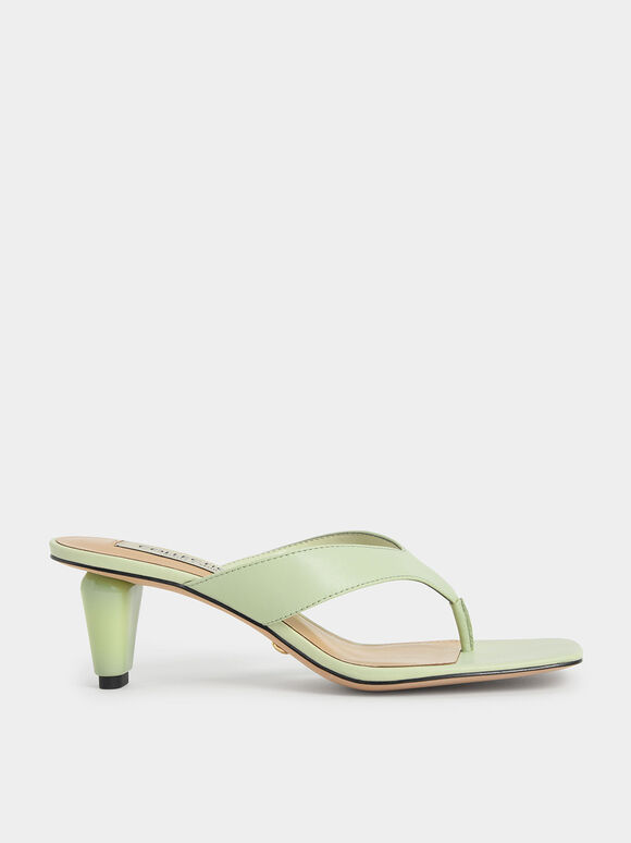 Leather Sculptural Heel Thong Sandals, Green, hi-res