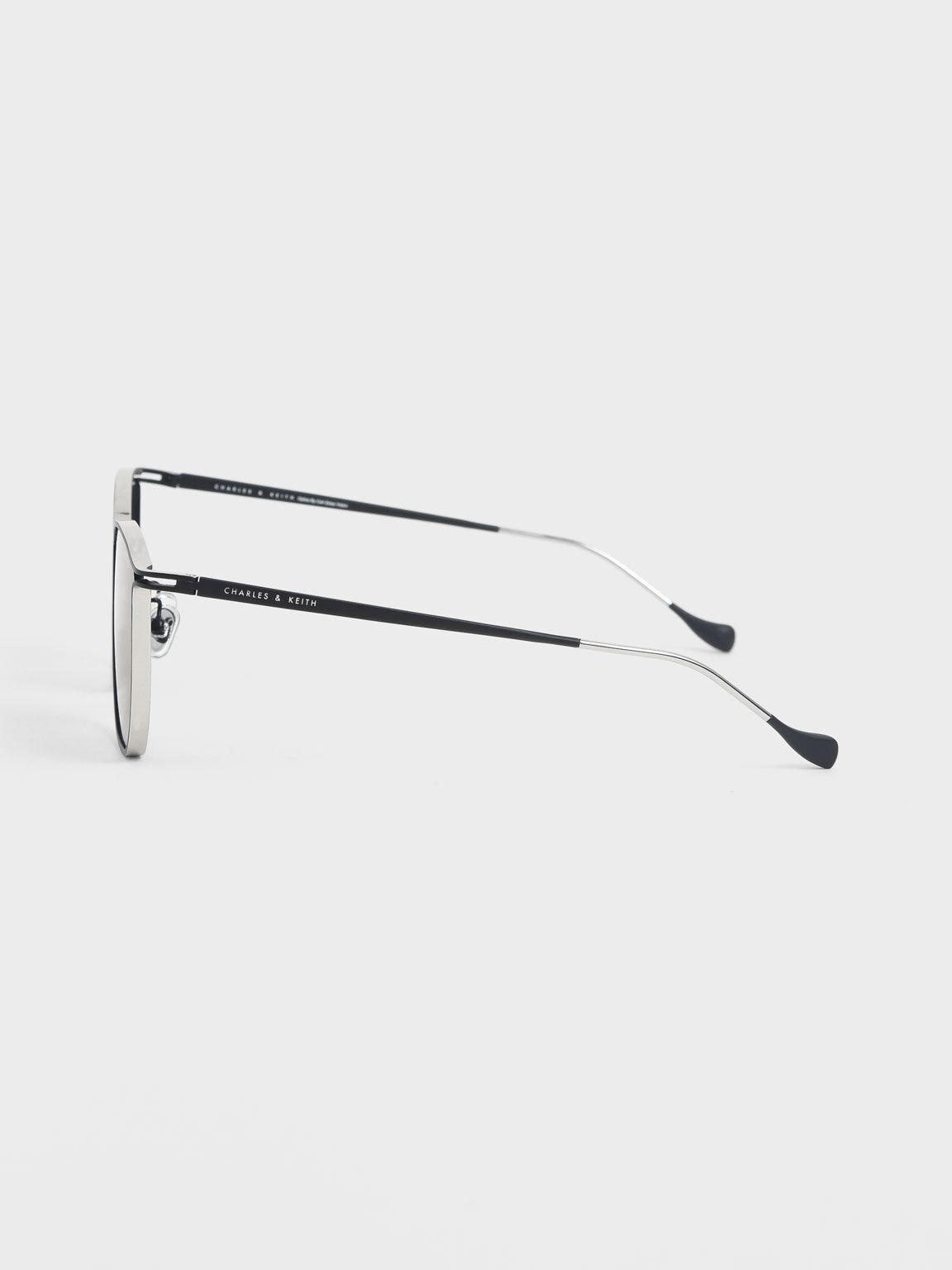 蝴蝶金屬框墨鏡, 黑色, hi-res
