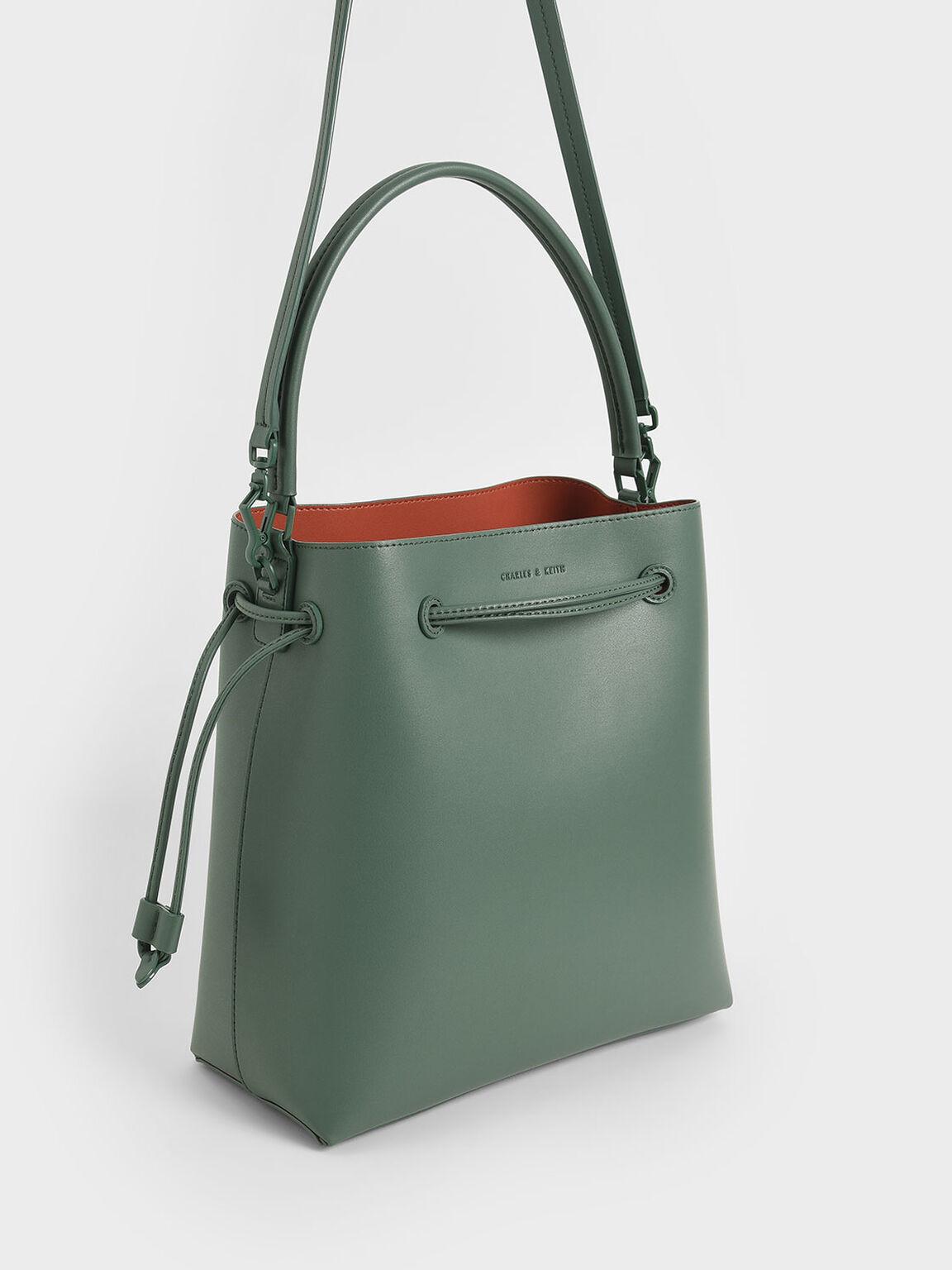 抽繩大水桶包, 綠色, hi-res