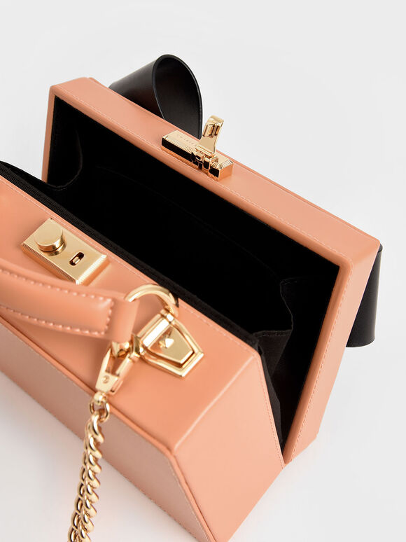 Bow Boxy Bag, Peach, hi-res