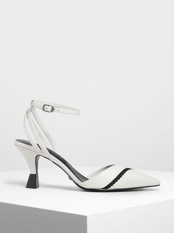 Leather Ankle Strap Pumps, White