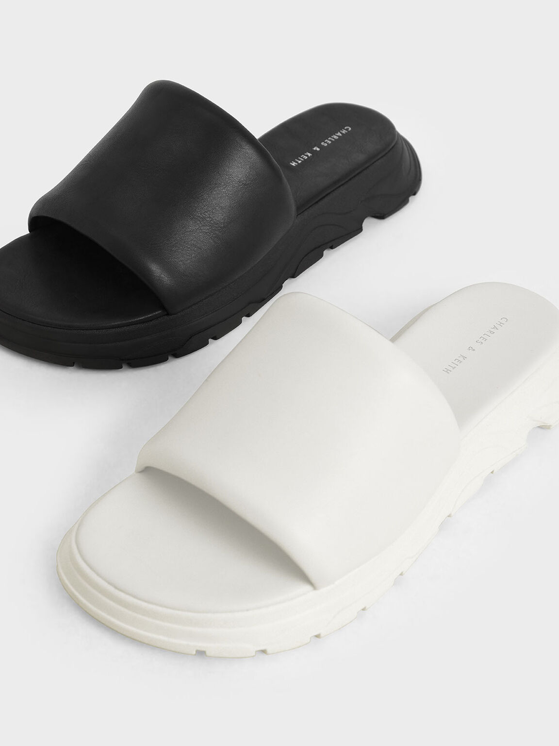 Flatform Slide Sandals, White, hi-res
