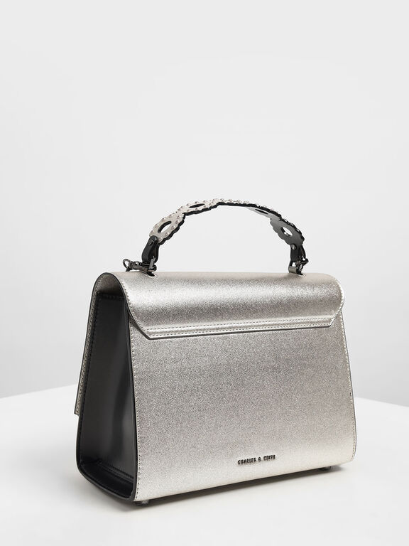 Metallic Structured Front Flap Bag, Silver, hi-res
