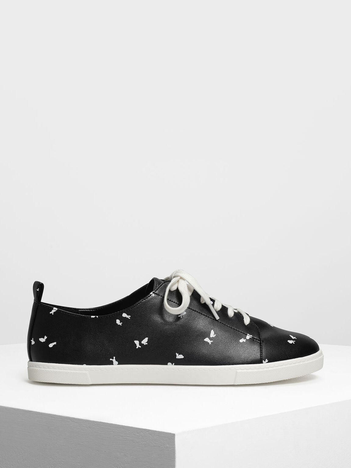 Bunny Print Sneakers, Black Textured, hi-res
