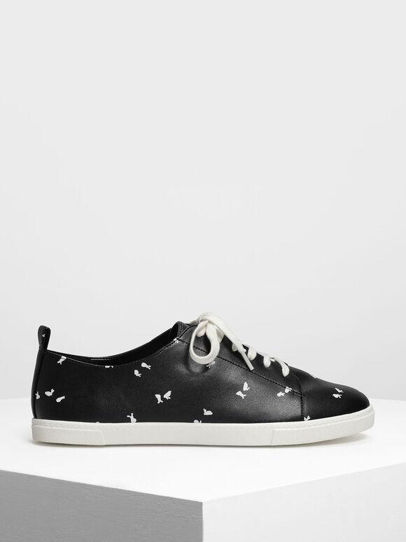 Bunny Print Sneakers, Black Textured, hi-res