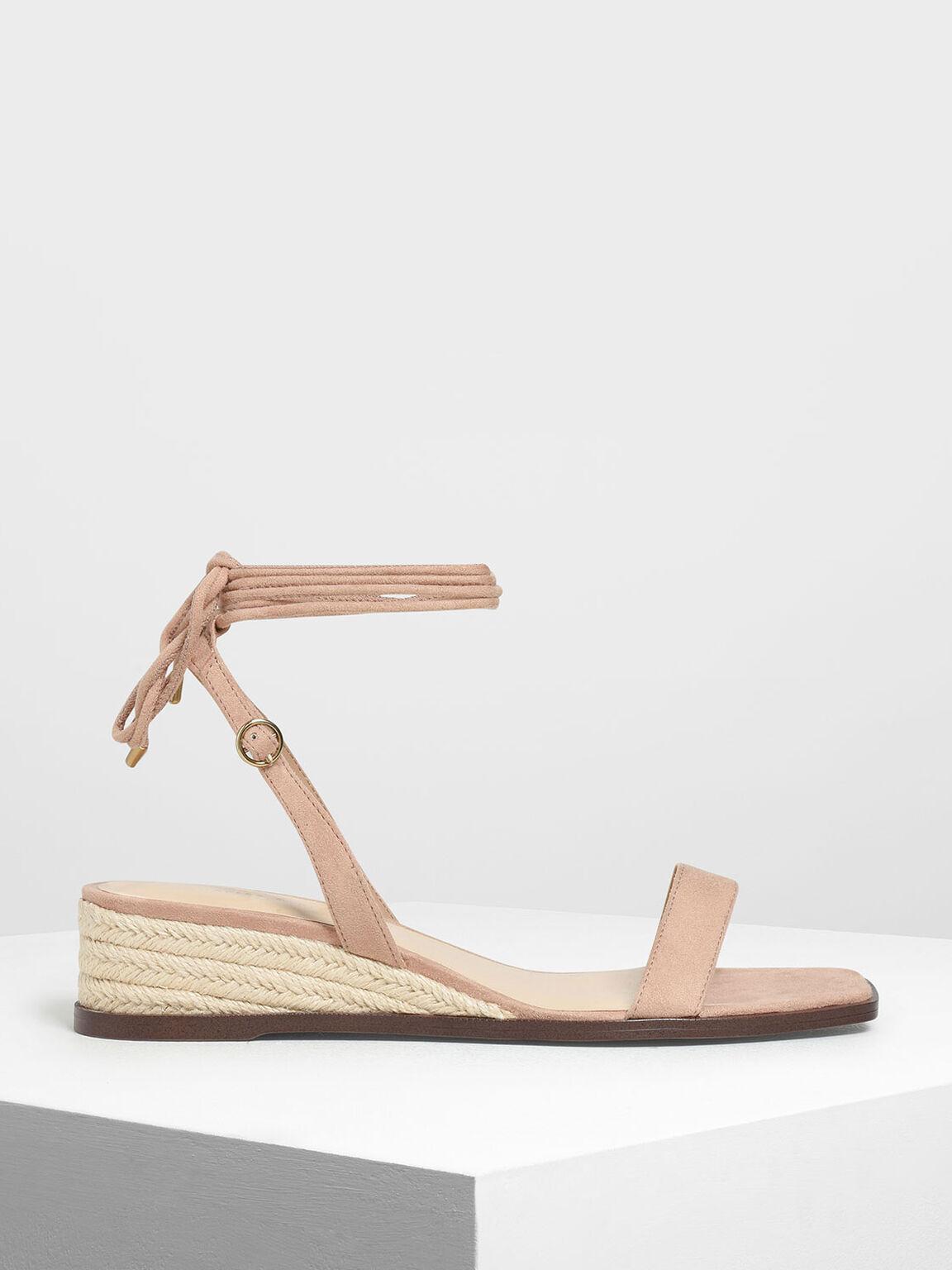 繞踝草編楔型涼鞋, 米黃色, hi-res