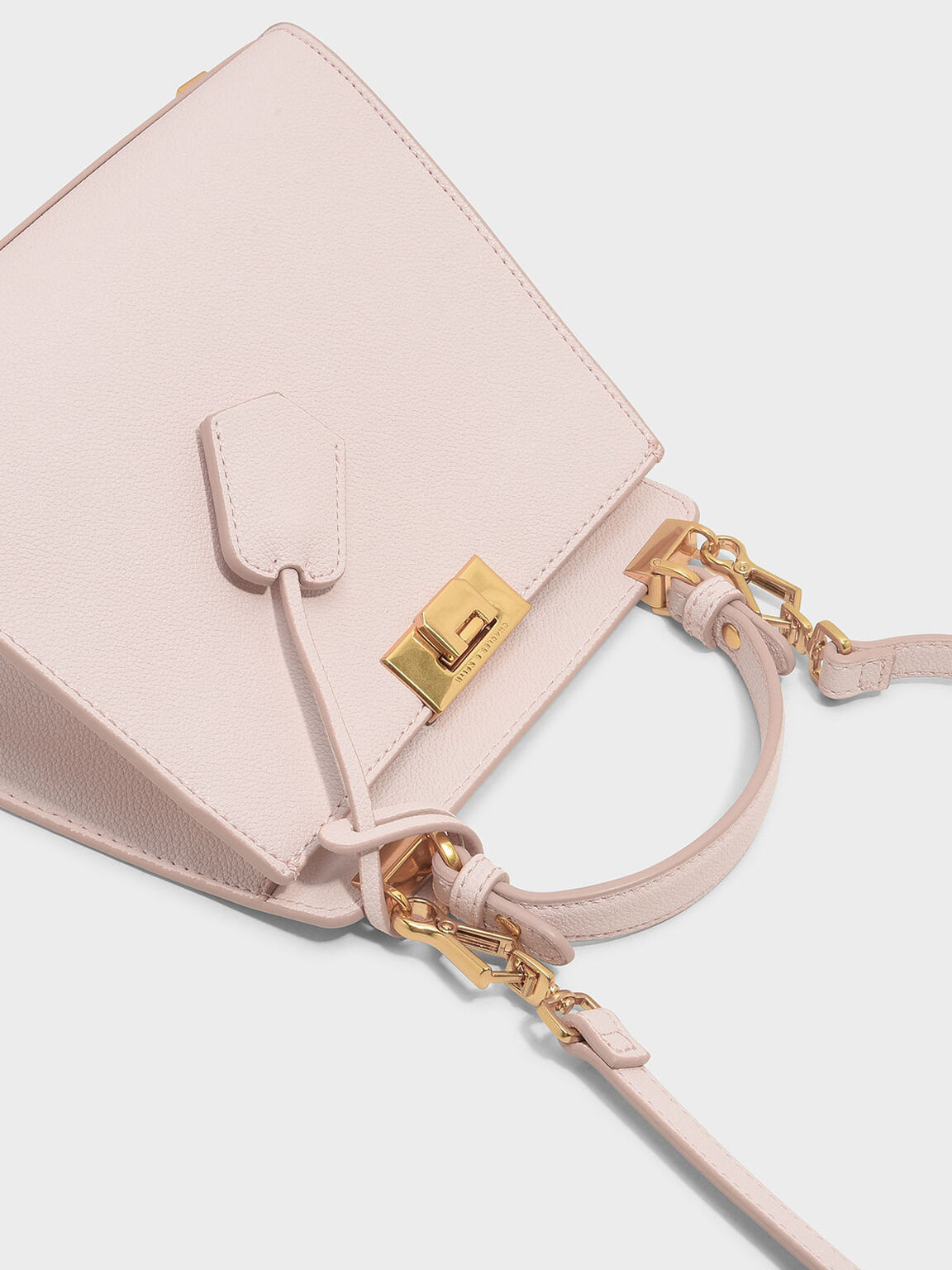 Angular Push-Lock Handbag, Pink, hi-res
