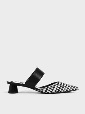 Houndstooth Print Woven Fabric Mules, Multi