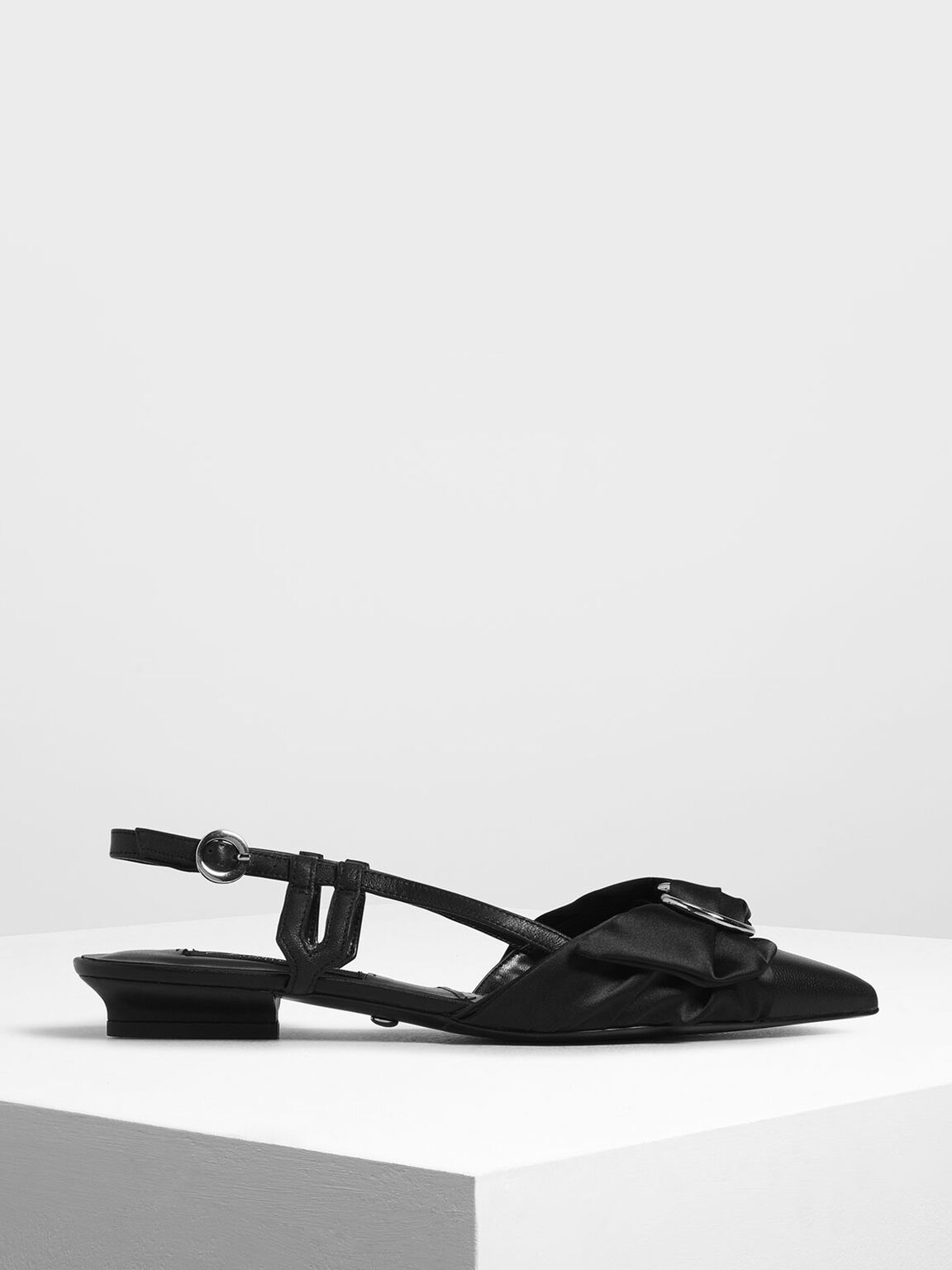 Ring Detail Satin Fabric Leather Slingback Flats, Black, hi-res