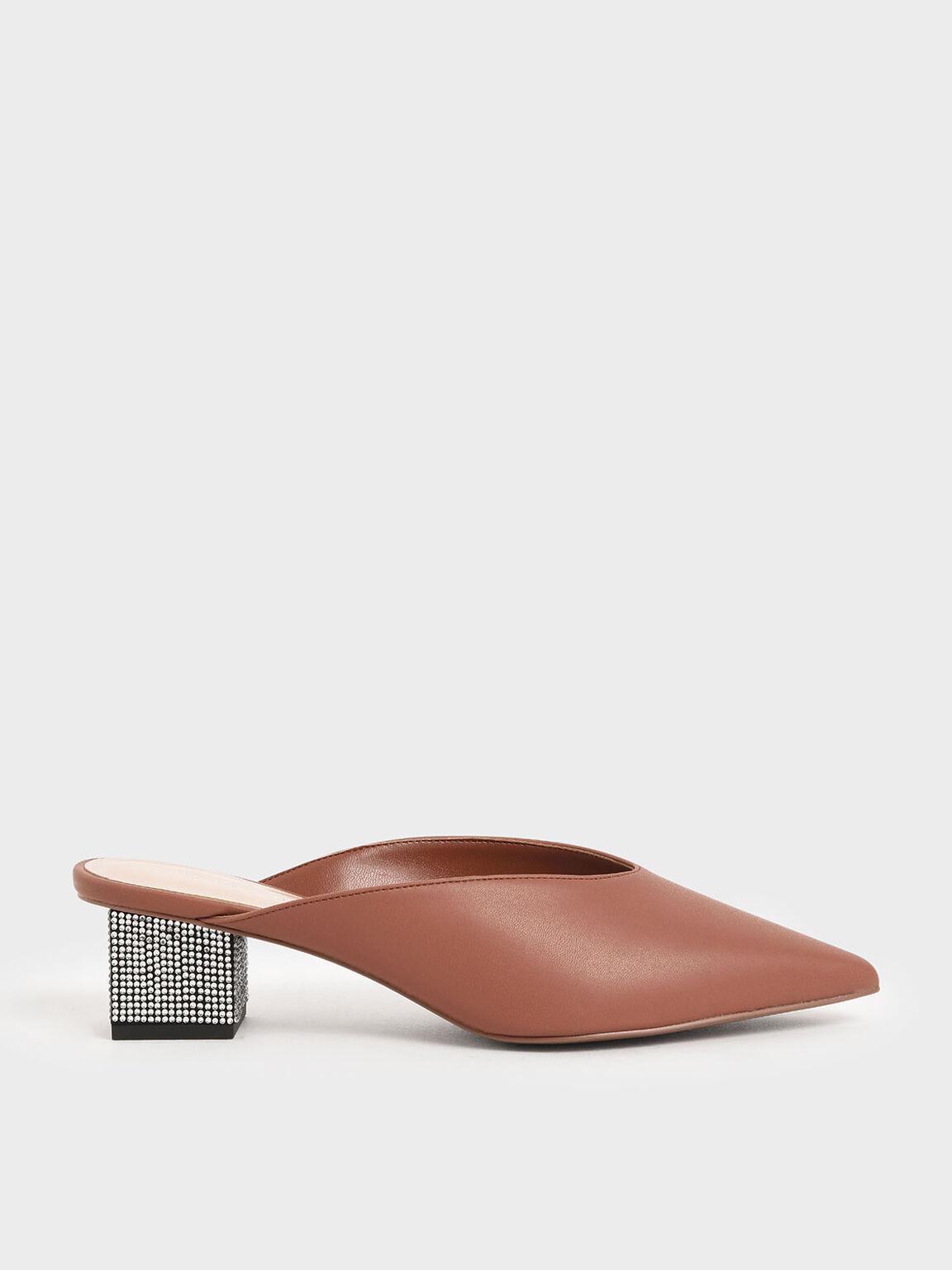 Embellished Block Heel Mules, Brick, hi-res