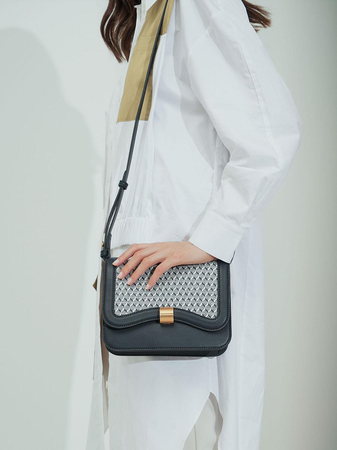 Raffia Crossbody Bag, Teal, hi-res
