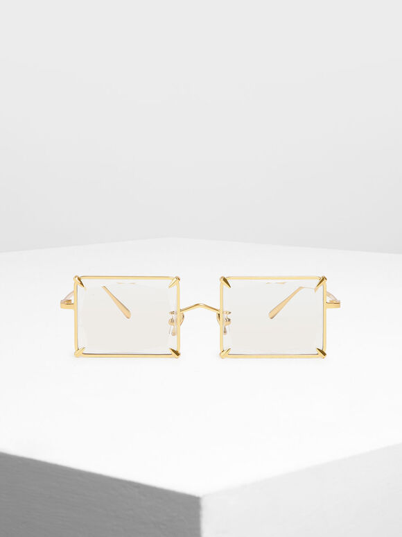 Square Wire Frame Sunglasses, White, hi-res