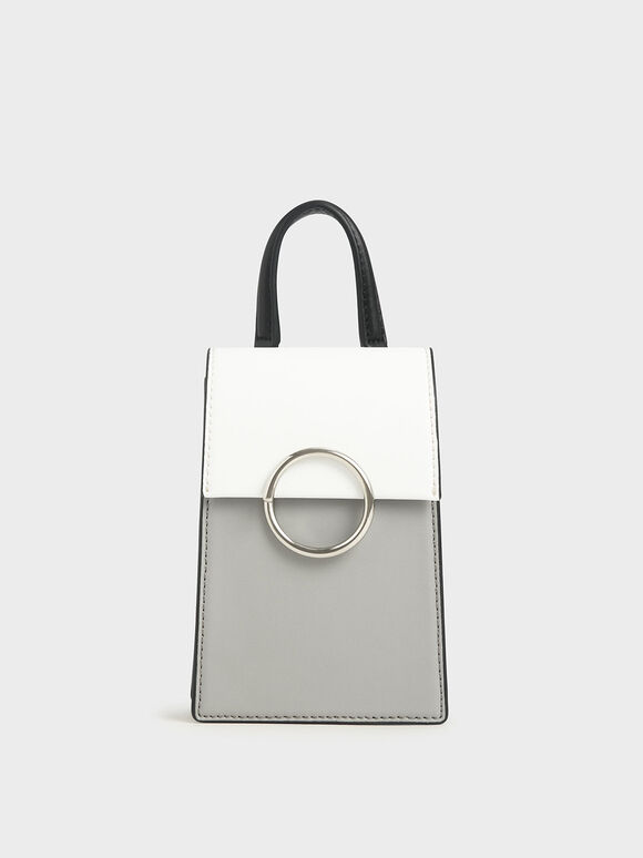 Two-Tone Ring Detail Elongated Bag, Grey, hi-res