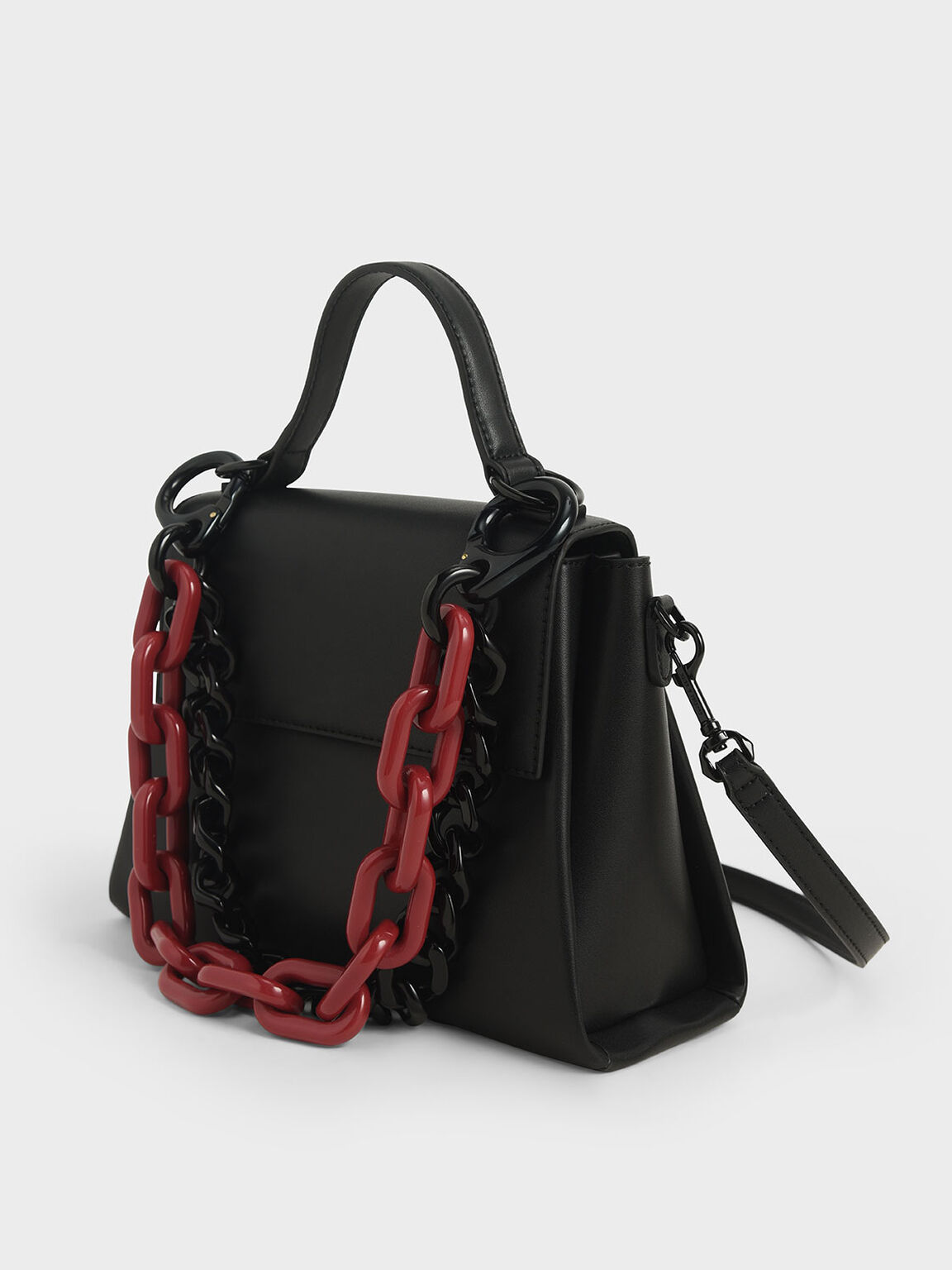 Double Chain Link Bag, Black, hi-res