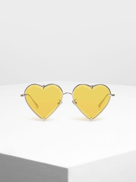 Thin Metal Frame Heart-Shaped Sunglasses, Yellow, hi-res