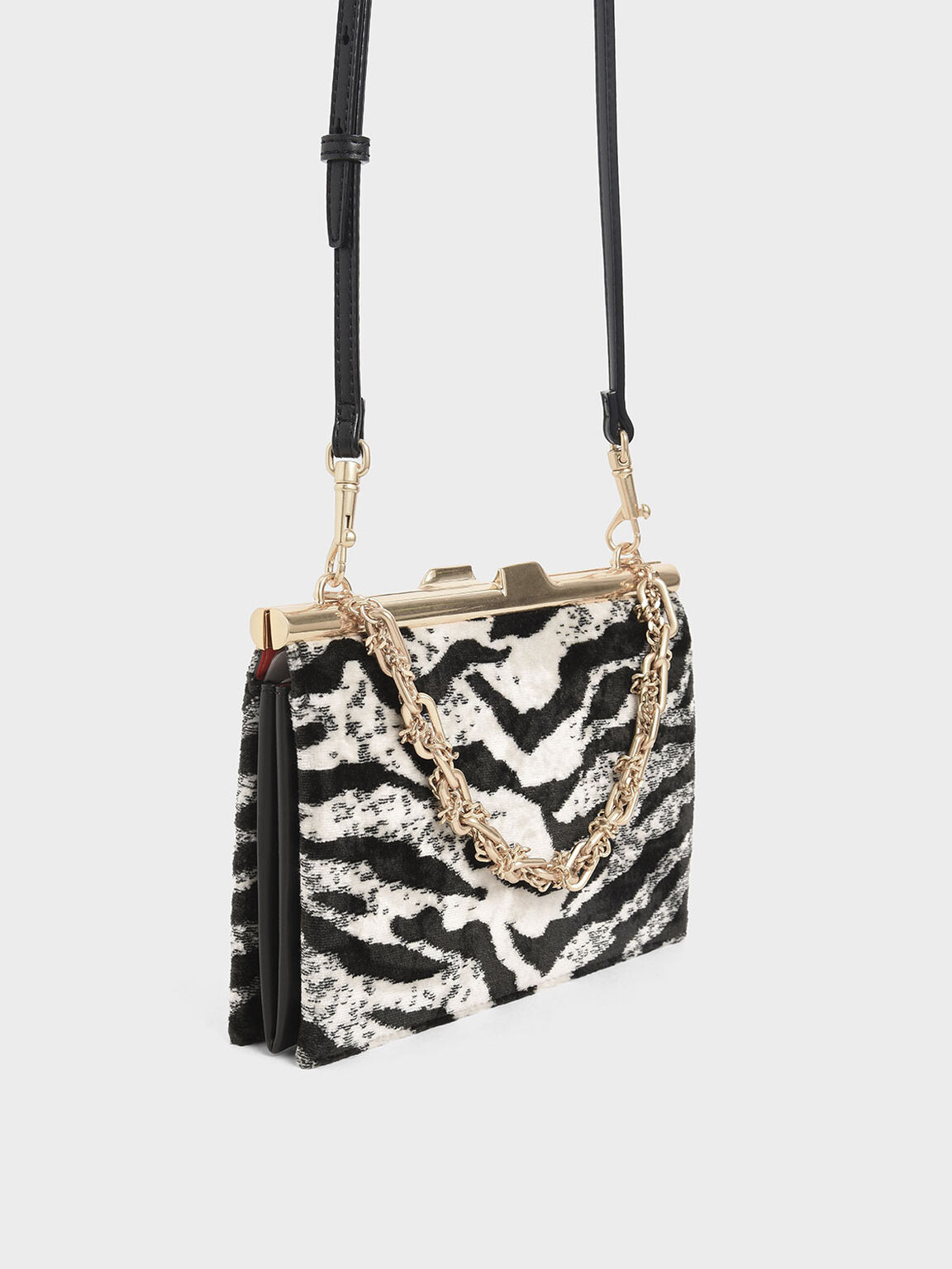 Velvet White Tiger Print Square Clutch, Multi, hi-res