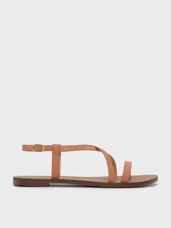 Criss Cross Sandals, Brown, hi-res