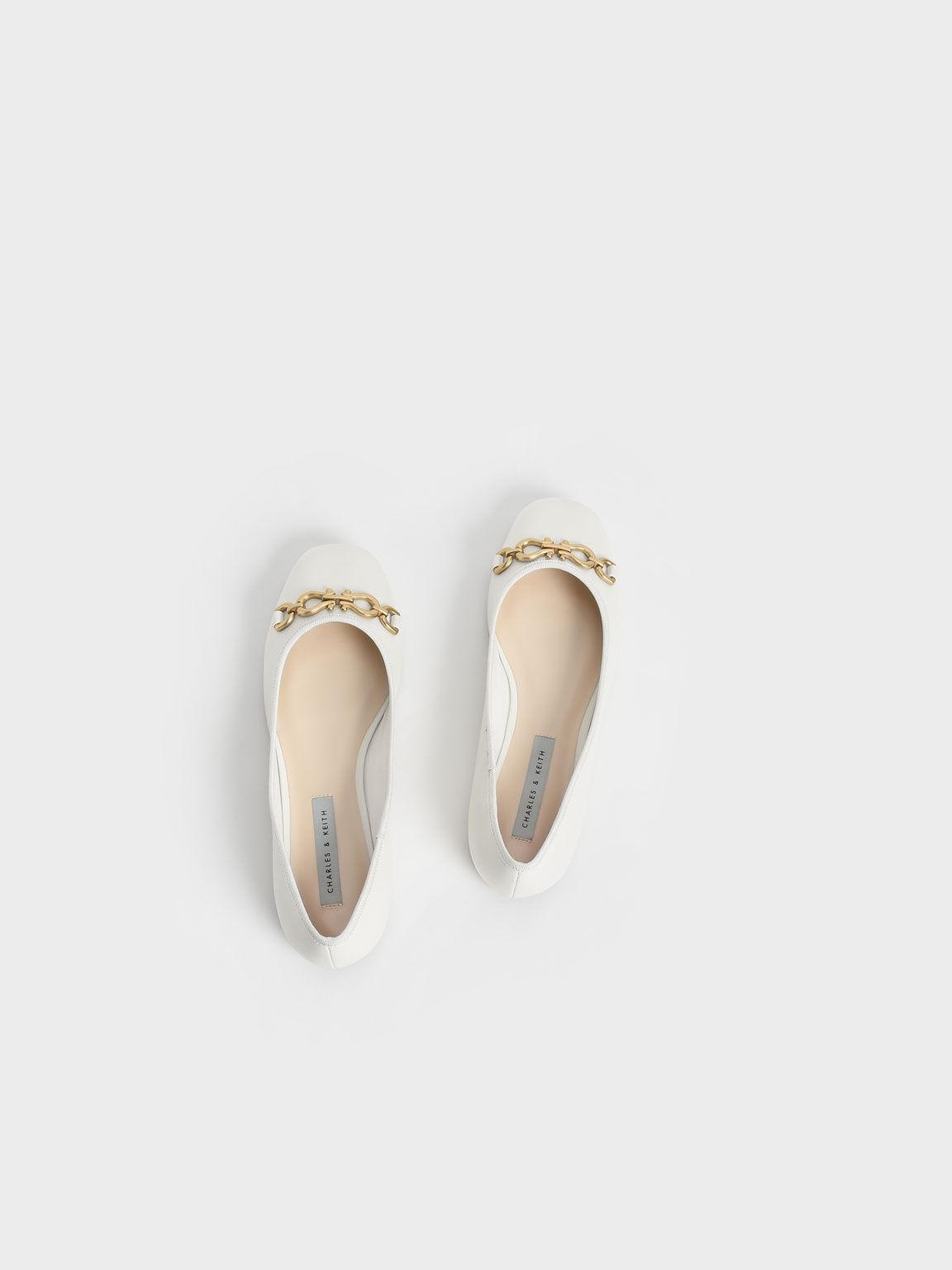 Chain Link Ballerina Flats, Chalk, hi-res