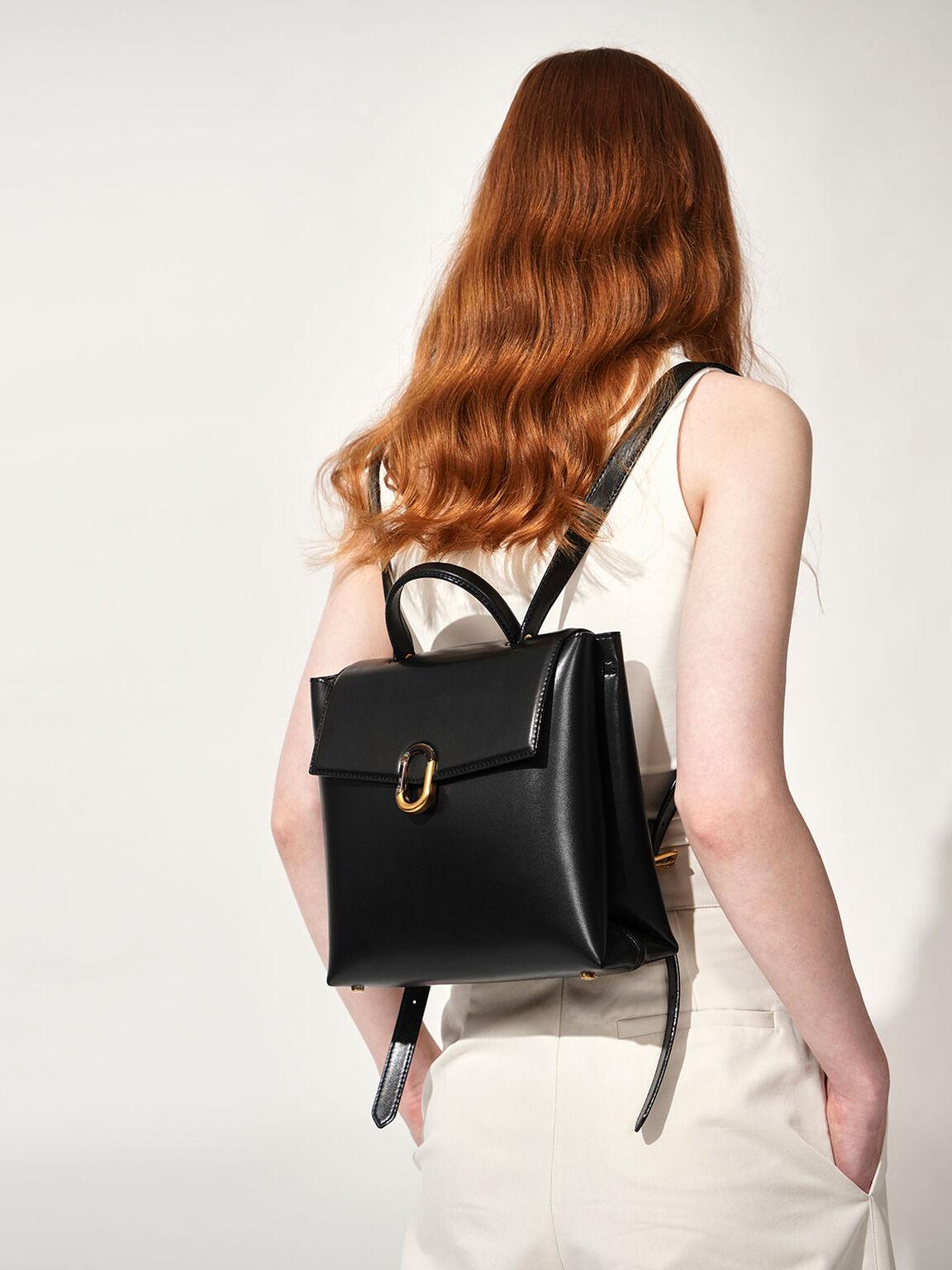Stone-Embellished Backpack, Black, hi-res