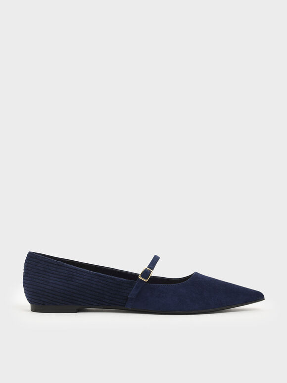 Pointed Toe Corduroy Mary Jane Flats, Blue, hi-res