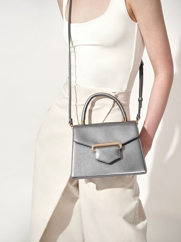 Leather Metallic Accent Handbag, Silver, hi-res