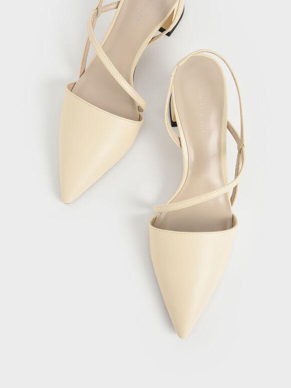 幾何帶三角跟鞋, 石灰白, hi-res