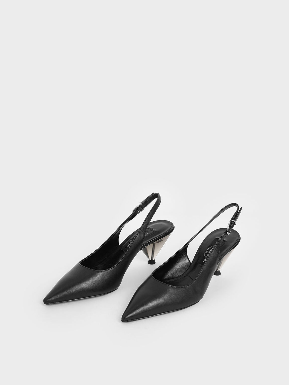 Leather Cone Heel Pumps, Black, hi-res