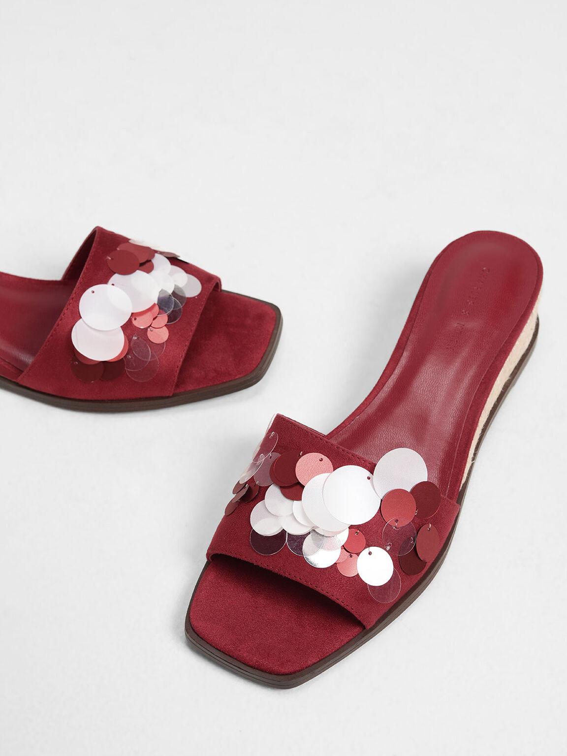 Sequin Embellished Espadrille Wedges, Red, hi-res